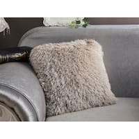 """Decorative"" Shaggy Pillow with Lurex in Beige (18-in x 18-in)"