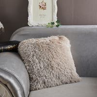 """Decorative"" Shaggy Pillow in Beige (18-in x 18-in)"
