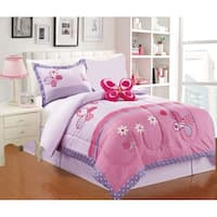 Little Adrien- butterfly 4pc Printed Comforter Set- Size Twin