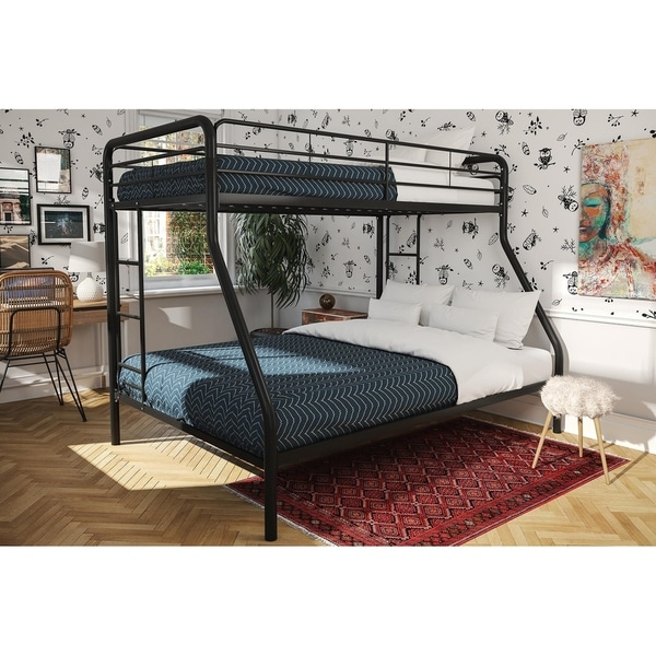 DHP Silver Twin Over Full Metal Bunk Bed with Mattress