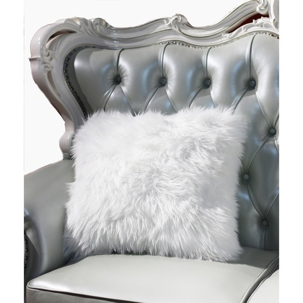 """Luxury Decorative"" Faux Fur Pillow in White (18-in x 18-in)"