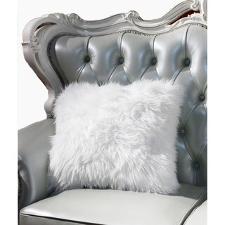 """""""Luxury Decorative"""" Faux Fur Pillow in White (18-in x 18-in)"""