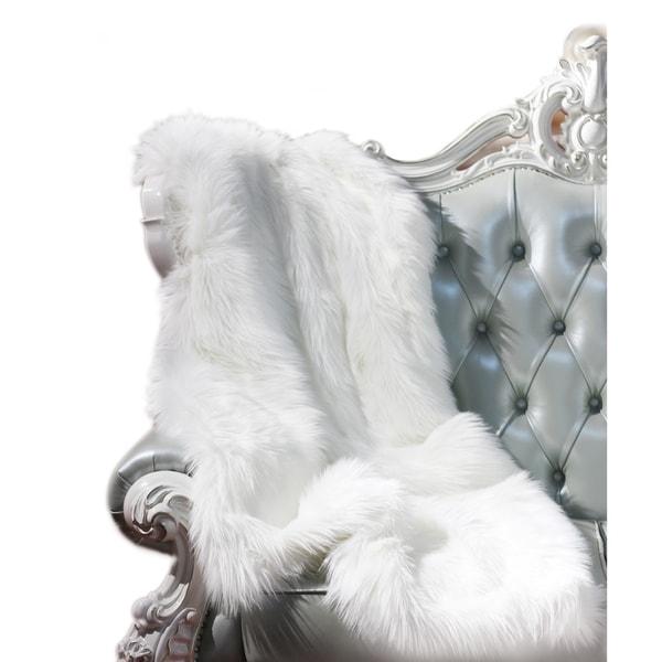 """Luxury Decorative"" Faux Throw in White (50-inch x 60-inch)"