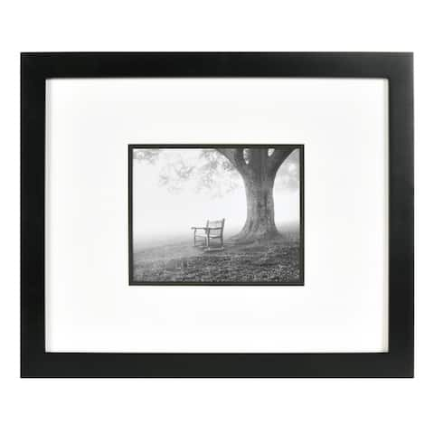 8x10 Black Wood Wall Frame with White Over Black Double Mat, Set of 3