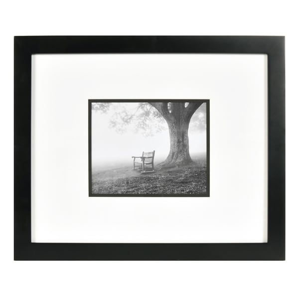 Shop 8x10 Black Wood Wall Frame With White Over Black Double Mat