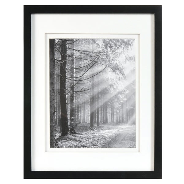 8x10 Black Wood Wall Frame with Double White Mat, Set of 3