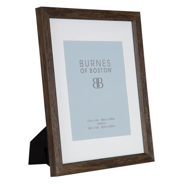 11x14 Natural Wood Wall Frame with White Mat For 8x10 Photo, Set of 4