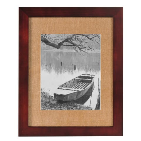 8x10 Espresso Wood Wall Frame with Textured Linen Mat, Set of 3