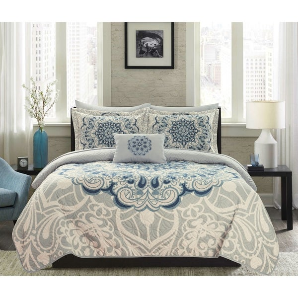 Chic Home Elmaz 8 Piece Reversible Quilt Coverlet Set Bed in a Bag