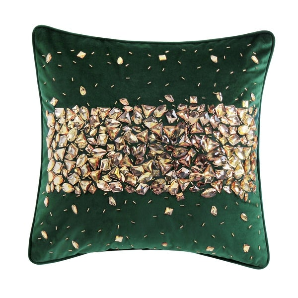 """""""Velvet"""" Crystal Encrusted Accent Pillow (18-in x 18-in)"""