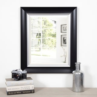 Black and Silver Scoop Framed Beveled Accent Wall Mirror