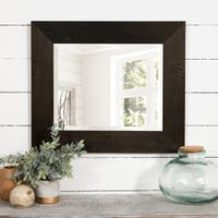 Black and Bronze Woodgrain Framed Beveled Accent Wall Mirror