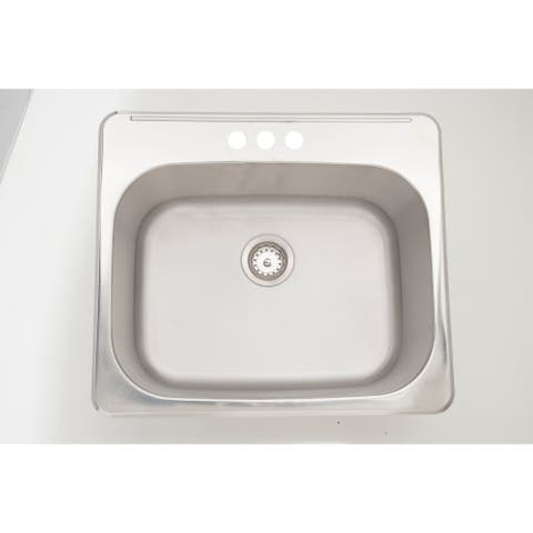 25-in. W CSA Approved Chrome Kitchen Sink With Stainless Steel Finish And 18 Gauge
