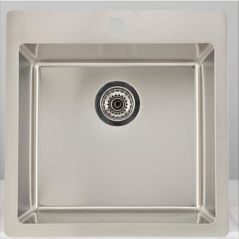 19.75-in. W CSA Approved Chrome Kitchen Sink With Stainless Steel Finish And 18 Gauge