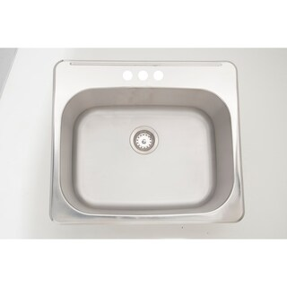 25-in. W CSA Approved Chrome Laundry Sink With Stainless Steel Finish And 18 Gauge