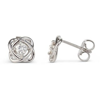 Charles & Colvard Sterling Silver 0.26 DEW Forever Classic Moissanite Woven Stud Earrings