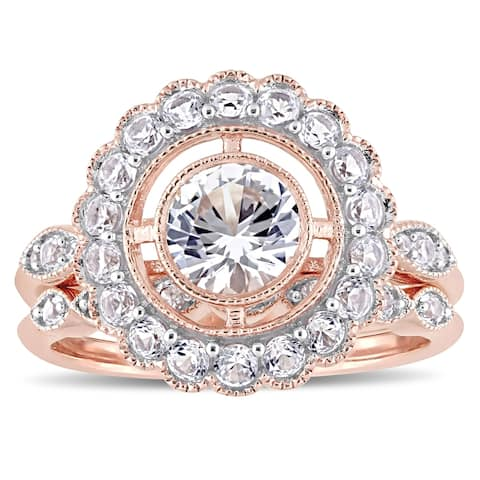 Miadora 10k Rose Gold Created White Sapphire Floral Halo Bridal Ring Set