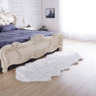 """Luxury Decorative"" Faux Fur Rug in White Sheepskin (32-inch x 71-inch) - 32"" x 71"""