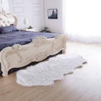 """Luxury Decorative"" Faux Fur Rug in White Sheepskin (32-inch x 71-inch) - 32"" x 71"""