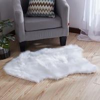 """""""Luxury Decorative"""" Faux Rug in White Sheepskin (28-inch x 39-inch) - 28"""" x 39"""""""