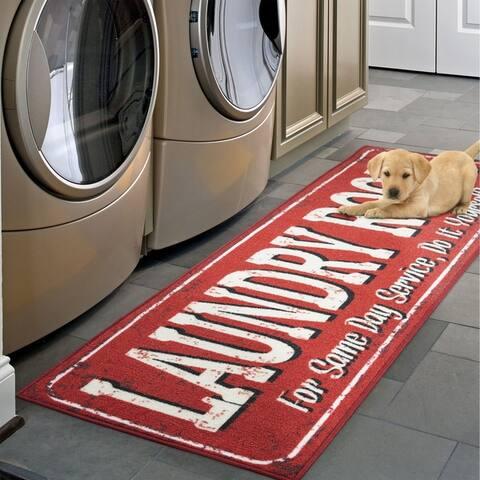 Ottomanson Washtown Non-Slip Low-Pile Laundry Mat Runner Rug