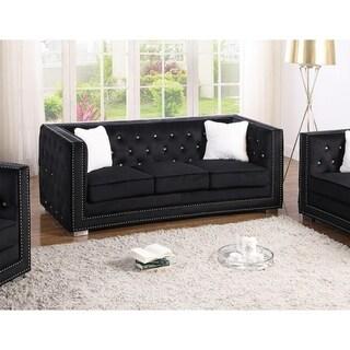 Best Master Furniture Upholstered Tufted Glam Sofa