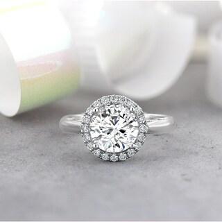 Auriya 1 5 8ct TW Moissanite Halo Diamond Engagement Ring 1 4ctw 14k Gold