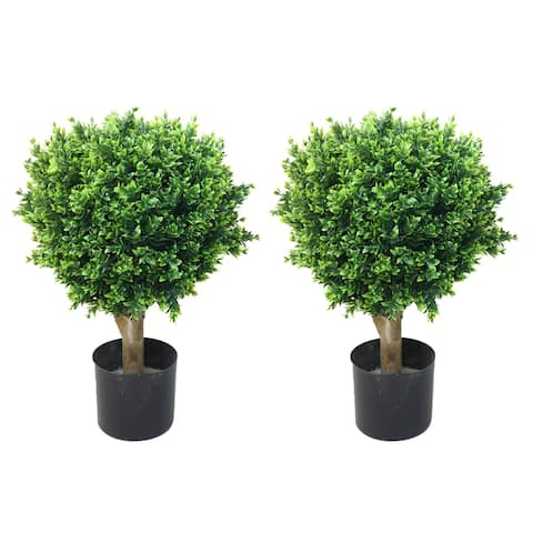 Artificial Hedyotis Tree -Large Faux Potted Topiary Plant - UV Resistant Indoor/Outdoor Décor by Pure Garden (Set of 2)