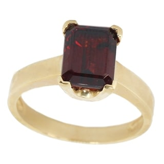 Michael Valitutti 10K Yellow Gold Emerald Cut Garnet Ring