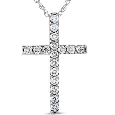 Pompeii3 14k White Gold 1 ct TDW Diamond Cross Pendant Lab Grown Eco Friendly (H-I,VS1-VS2)