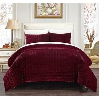 Gracewood Hollow Marechera 3-piece Comforter Set Luxe Hand-stitched Velvet