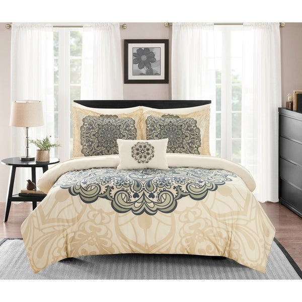 Chic Home Amina 8 Piece Reversible Paisley Print Comforter Set - Beige