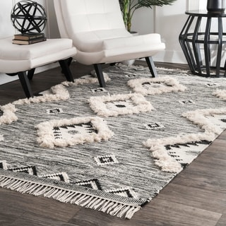 The Curated Nomad Diamond Heights Handwoven Wool Grey Ikat Tassel Area Rug