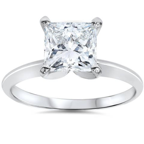 14k White Gold 1 1/2 ct TDW Princess Cut Solitaire Diamond Engagement Ring Clarity Enhanced (G-H,SI2-I1)
