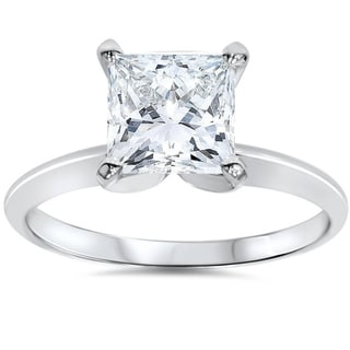 Pompeii3 14k White Gold 1 1/2 ct TDW Princess Cut Solitaire Diamond Engagement Ring Clarity Enhanced (G-H,SI2-I1)