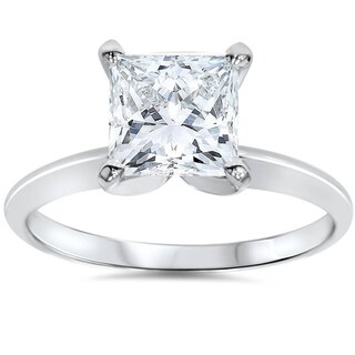 Bliss 14k White Gold 1 1/2 ct TDW Princess Cut Solitaire Diamond Engagement Ring Clarity Enhanced (G-H,SI2-I1)