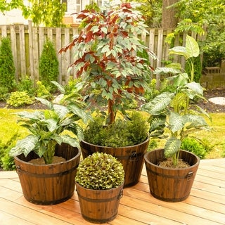 Set of 4 Large Barrel Style Round Wooden Planters