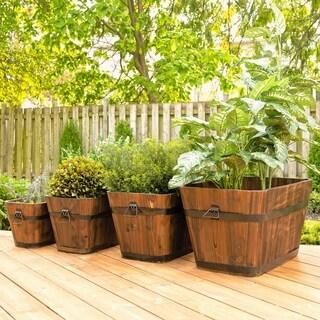 Set of 4 Barrel Style Rectangular Wooden Planters