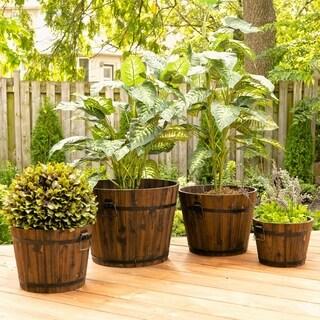 Set of 4 Medium Barrel Style Round Wooden Planters