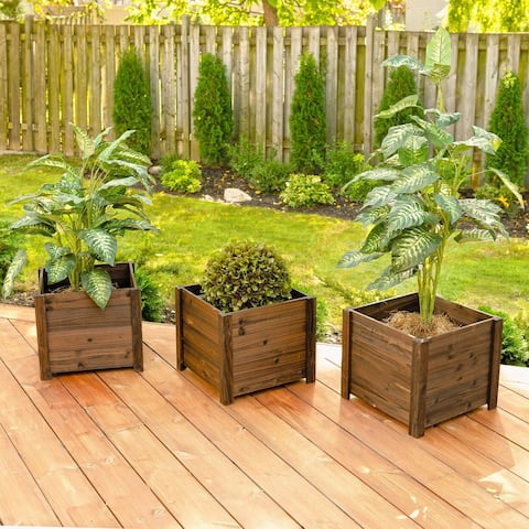 Set of 3 Large Square Wooden Planters