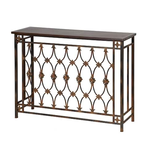 StyleCraft Brown Filagree Metal and Wood Side Table
