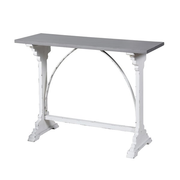 White and Distressed Grey Distressed Side Table