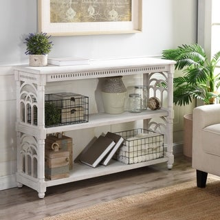White with Distressing 3-Tier Console Table