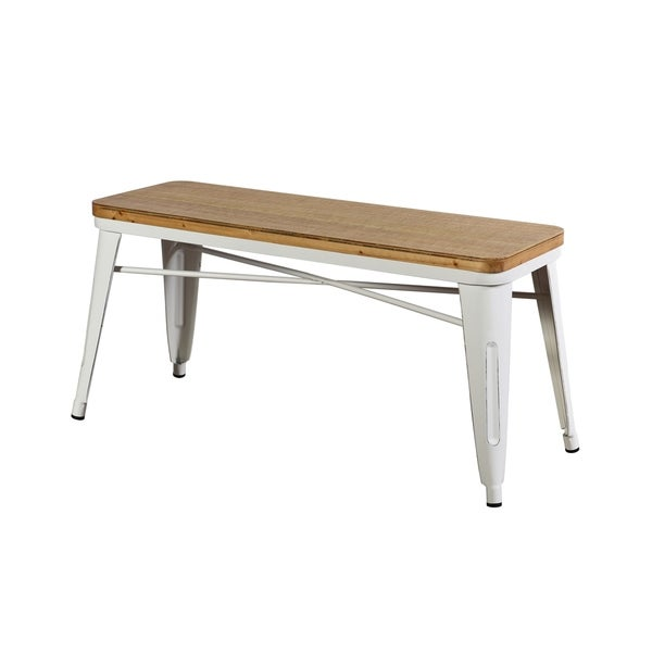 Shop Antique Cream Metal And Wood Bench On Sale Free