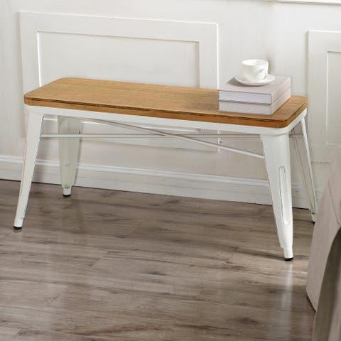 StyleCraft Antique Cream Metal and Wood Bench