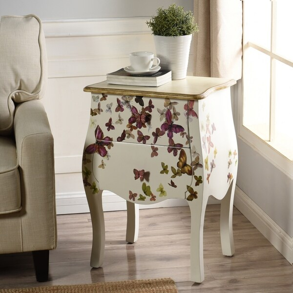 Two Drawer Butterfly White Hand-Painted Accent Table