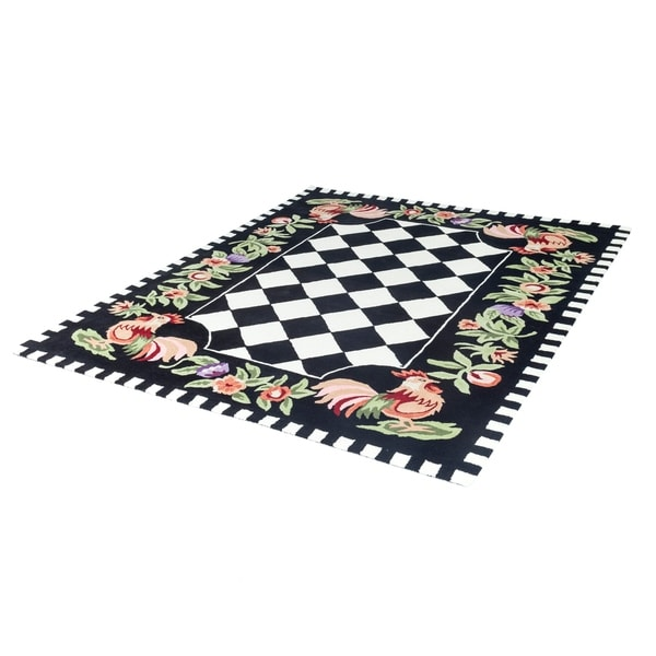 Shop Rooster Checkered Wool Rug Handtufted Area Rug 8 X 10