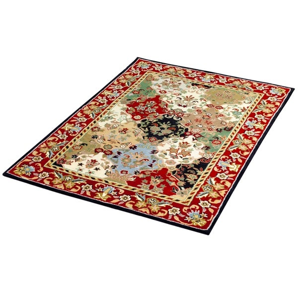 Traditional Oriental Multi and Burgundy Wool Area Rug 5 X 7