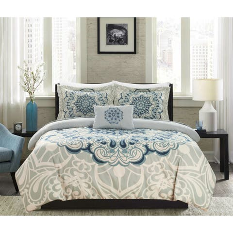 Chic Home Fanny 4 Piece Reversible Duvet Cover Set Paisley Print