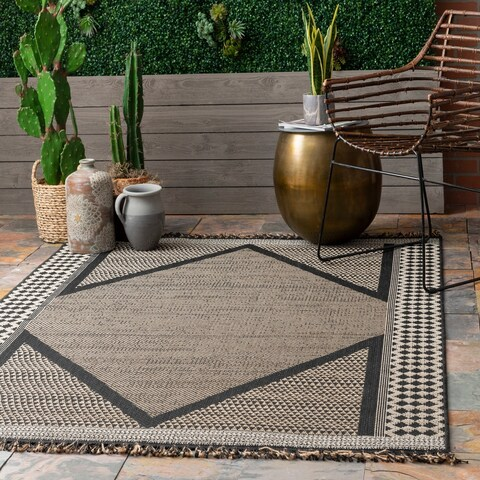 The Curated Nomad Brannan Grey Casual Modern Indoor/Outdoor Striped Tassel Area Rug